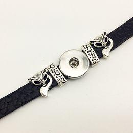Wholesale Jewelry Foxes - Hot Sale Retro FOX Leather snap button Bracelet BT213 (fit 18mm 20mm snaps) party dress jewelry DIY