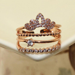 Wholesale Crown Gold Jewellery - Multilayers Shining Crown 18K RGP Fashion Gold Plated Zircon Crystal Rings For Women brand Jewellery Bague Femme Bijoux D25211