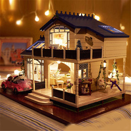Wholesale Doll Toys For Girls - Wholesale-Assembling DIY Miniature Model Kit Wooden Doll House Romantic Provence House Toy with Furnitures & Convertible Gift for Girl