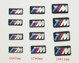 Wholesale M Decals - 100pcs Tec Sport Wheel Badge 3D Emblem Sticker Decals Logo For bmw M Series M1 M3 M5 M6 X1 X3 X5 X6 E34 E36 E6 car styling stickers