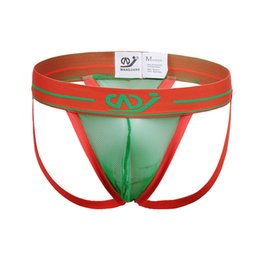 Wholesale Mens Nylon G String - Mens Sexy Underwear Penis Pouch WJ Jockstrap Underwear Sleepwear Mesh G-String Strap Sexy Mens Underwear Gay Bikini G String