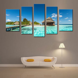 Wholesale Island Decoration - 5 Picture Combination Wall Art Prints The Picture For Home Decoration Maldives Tropical Island With Beach Villas Beach Seascapet