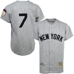 Wholesale New Mens Jersey - Retro NY Yankees #7 Mickey Mantle Throwback 1951 Gray Cream White Striped Cooperstown Collection Mens Vintage New York Baseball Jerseys