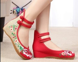2019 chaussures wedge mary jane Taille us: 5-9.5 Chaussures pour femmes, Vieilles Pékin Appartements Mary Jane avec des chaussures tout-aller, chaussures de style chinois en tissu brodé chaussures wedge mary jane pas cher