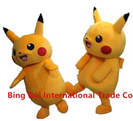 Wholesale Pikachu Costume Suit - 2016 Top Grade Deluxe Pikachu Mascot Costume Cartoon Character Costumes Mascot Costume Fancy Dress Party Suit