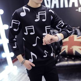 Wholesale Musical Sleeve - Free Shipping Spring and Autumn Men's Long sleeves Musical Notes Sweatshirts Korean version Slim Round neck Men music notes printed tshirt
