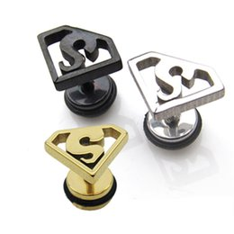 Wholesale Earring Superman - Earings for Woman Superman titanium steel fashion geometric triangle earrings Korea Korean personalized jewelry Stud Earrings