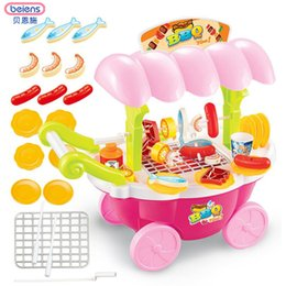 Wholesale Pink Girls Play Kitchen - Beiens Mini Barbecue Trolley Car Children Simulation Lighting Pretend Play Tableware Kitchen Toys Best Gifts For Girl
