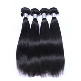 Wholesale 4bundles Virgin Indian Hair - Brazilian Human Remy Virgin Hair Silky Straight Hair Weaves Natural Color 100g bundle Double Wefts 4Bundles lot Hair Extensions