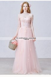 Wholesale Evening Dresses Upscale - 2016 new wedding dress in nude pink word shoulder Sleeve upscale toast evening dress show performances