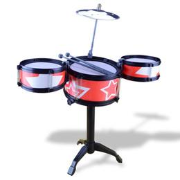Wholesale Children Rack - Child Drum Rack Jazz Pulsatile Drum Toy Percussion Children Jazz Drums Set Musical Instrument Drum Child Music Toy Free Shipping