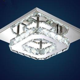 Wholesale Modern Squared Light Ceiling - Modern LED Crystal Ceiling Light Fixture Square LED Crystal Lamp 12W LED Pendant lamp Hallway Corridor Asile LED Lighting K9 Chandeliers
