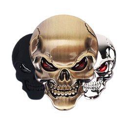 Wholesale 3d Devil Car Decals - Wholesale 1 PCS New Zinc Alloy Devil Skull Car Stickers Decals Auto Bumper Stickers Car-styling 3D Chrome Stickers Moto Motorcycle Decal