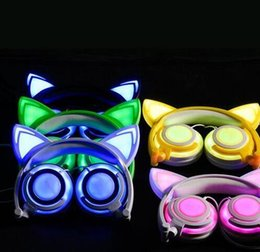 Wholesale Purple Cat Ears - Cute Cat Ear Headphones with LED light Foldable Flashing Glowing Gaming Elf Headset Music MP3 Earphone For PC Laptop Computer Mobile Phone