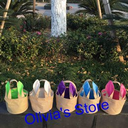 Wholesale Colorful Stockings - In stock ready to ship free shipping colorful burlap easter bunny bucket 5 colors mixed easter egg basket for kids tote bags