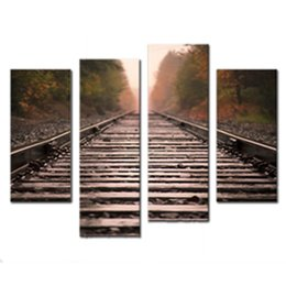 Wholesale Framed Car Pictures - Amosi Art-4 Pieces Wall Art Red Old Rail Painting The Picture Print On Canvas Car Pictures For Home Decor Decoration Gift With Wooden Framed