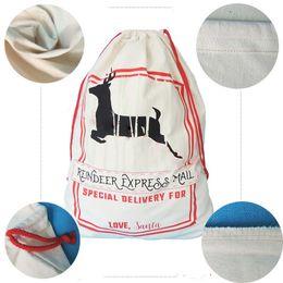 Wholesale Medium White Gift Bags - Santa Claus Gift Bags Large Organic Heavy Canvas Bag Santa Sack Drawstring Bag With Reindeers Christmas Sack Bags For Kids Free Shipping
