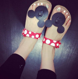 Wholesale Minnie Mouse Women - South Korea cute cartoon Mickey Minnie mouse women casual cork slippers holiday comfortable sandals summer cool flip-flops