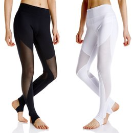 Wholesale Sexy Leggings Tights Feet - Women Sexy Solid Mesh Patchwork Yoga Pants Step Foot Sports Leggings Fitness Clothing Full Length Tight Running Pants Slim Fit