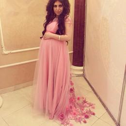Wholesale Pregnant Woman Art - 2016 Elegant Pink Long Prom Dresses For Pregnant Women Handmade Flowers Plus Size Long Women Maternity Evening Gowns