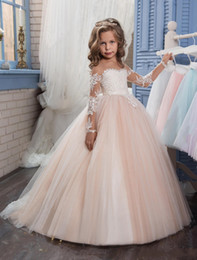 Wholesale child graduation dresses - 2018 Flower Girls Dresses For Weddings Illusion Neck Long Sleeves Lace Appliques Blush Pink Ball Gown Birthday Children Girl Pageant Gowns