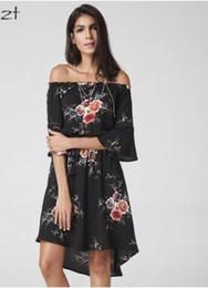 Wholesale Wholesale One Shoulder Chiffon Dress - 2017 summer bohemia dress printing chiffon medium length one - word shoulder sleeve tall waist moldbaby selling