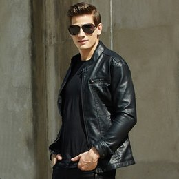 Wholesale Mens Leather Jackets Brown Winter - 2018 Autumn Winter new Brand in stock Men Motorcycle Biker leather jacket mens casual leather Fleece Jackets plus size