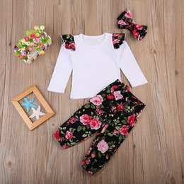 Wholesale Girls Floral Bloomers - Cute Ins Baby girl Outfits New White Tee Top Ruffles sleeve + Retro Floral Printed bloomers with Bow headband Three-piece set New arrival