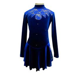 Wholesale Velvet Figure - 2016 Design Korean Velvet Long Sleeve Figure Skating Dresses New Brand Fashion Female Ice Skating Dress Hot Selling