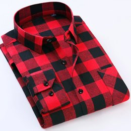 Wholesale Wholesale Business Clothes - 2017 Men's Business Plaid Shirts Male Casual Warm Soft Comfort Long Sleeve Shirt Clothes Shirts Tops Tees Plus size Clothing
