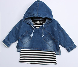 Wholesale Denim Jackets Toddler - 2017 New Fashion Girl Children Jean Jackets Hooded + Long Sleeve T- Shirts Two Piece Suits Baby Toddler Denim Coat Striped T- Shirts Outwear