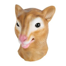 Wholesale Deluxe Halloween Masks - Mask Latex Deluxe Novelty Halloween Costume Party Squirrel Female Cow Animal Head Latex Mask Free Shipping