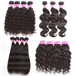 brazilian deep curly hair mix Promo Codes - Remy Human Hair Weave Bundles Body Wave Straight Deep Curly Water Wave 8a Brazilian Virgin Hair Extensions Mix Texture Double Weft Weaving