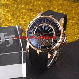 Wholesale Double Tourbillon - Luxury Watch Brand New 18K Grand Rose Gold Complication Double Tourbillon Retrograde 48mm Limited Guilloche Mens Watch rubber strap