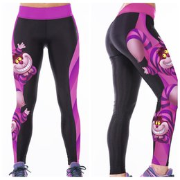 Wholesale Orange Yellow Tights - Slim Leggings Female Breathable Yoga Pants Quick Dry Digital Printing Jogging Sports Trousers Body Sculpting Tight Dark Owl LNASlgs