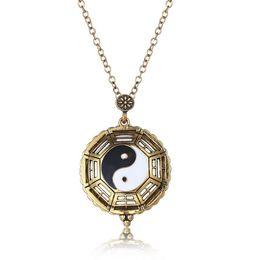 Wholesale Wholesale Magnifier Pendant - Vinatge Magnifier Glass Tai Chi Gossip Pendants Necklaces Suspension Pocket Watch Chain Fashion Collar Choker Jewelry Gifts