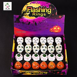 Wholesale Plastic Toy Skeleton - New mixed creative finger rings for children Halloween color toy rings flash luminous Kito rings free shipping