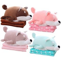Wholesale Dog Plush Blankets - 1pc 58cm Kawaii Plush Akita Dog Toy Stuffed Animal Doll Soft Pillow with Blanket Cute Hand Warmer Lovely Gift for Kids