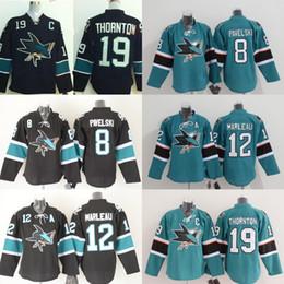 Wholesale Cheap Black Spandex - Cheap San Jose Sharks Youth men Hockey Jersey 8 Joe Pavelski 12 Patrick Marleau 19 Joe Thornton Kids Ice Hockey Jerseys
