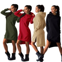 Wholesale vintage hooded sweatshirts - Spring Autumn Women Short Dress Vintage Casual Sport Dress Long Sleeve Pockets Sexy Split Hem Hoodie Sweatshirts Tops free shipping