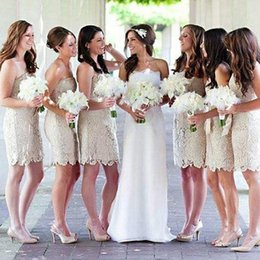 Wholesale Hot Pink Strapless Bridesmaid Dresses - Hot sale 2017 Lace Bridesmaid Dresses Sheath Short Maid of Honor Gowns Knee Length Cocktail Party Wear Gowns