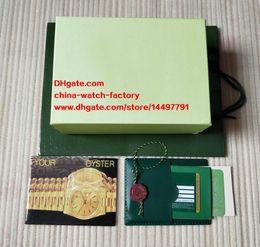 Wholesale Swiss Eta Watches - Free Shipping Green Brand Watch Original Box Papers Card Purse Gift Boxes Handbag 0.8KG For 116610 116660 116710 Swiss ETA 3135 3255 Watches