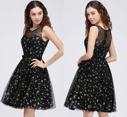 Wholesale Star Plus Dresses - Little Black Short Cocktail Dresses with Star Sheer Jewel Neck Party Wear For Girls Homecoming Graduations Gowns Cheap Free Shipping CPS684