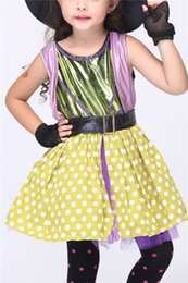 Wholesale Wholesale Gothic Wear - 2016 NEW Girls Halloween Costume Children Elfin Little Witches Cosplay Dresses Stage Wears Kids Yellow Polka Dots Sweet Dresses