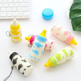 Wholesale Mini Kids Mobile Phone - Squishy toys soft and slow milk bottle personalized creative mobile phone hang fashion mini children to unpack toys