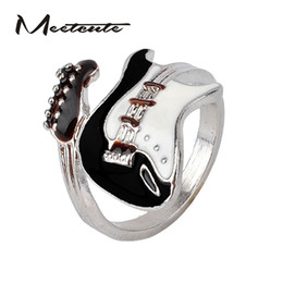 Wholesale Bright Horn - Wholesale- Meetcute Personalized Style Punk Style Bright Colorful Glazed Guitar Ring White And Black Ring Musical Tools Bijoux Jewelry