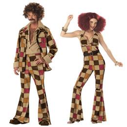 Wholesale Brown Renaissance Dress - 1960s Hippy Flares Top Ladies Fancy Dress 70s Womens Hippie Sixties Costume 5105