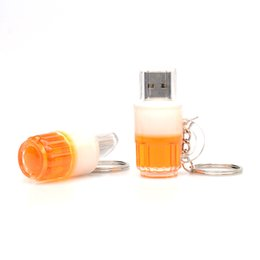 Wholesale Pen Drive Cartoons - New Cartoon Beer Bottle USB 2.0 Memory Flash Stick Pen Drive Genuine 8GB Full Real Capacity 100% New High Speed