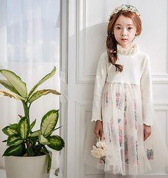 Wholesale Turtleneck Collar Kids - 2016 Autumn Children Girls Flowers Printed Long Sleeve Stand Collar Gauze Dresses Lace Kids Fashion Korean Dress B4178
