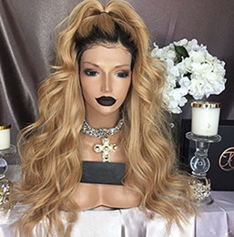 Wholesale Hair Color Roots - Honey Blonde Lace Front Wig Glueless Full Lace Wigs Human Hair Ombre Wig Black Roots 1B 27 Body Wave Brazilian Virgin Hair